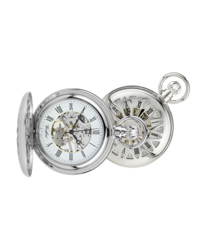 Mechanical Chrome Plated Pierced Pocket Watch With Chain